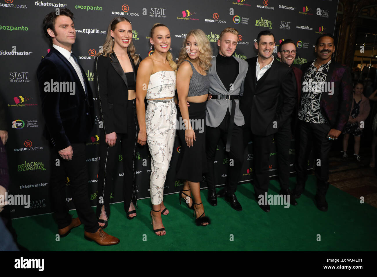 Sydney, Australia. 12th July 2019. Jack and the Beanstalk Giant 3D musical spectacular red carpet at the State Theatre. Pictured: cast and crew from the production. Credit: Richard Milnes/Alamy Live News Stock Photo