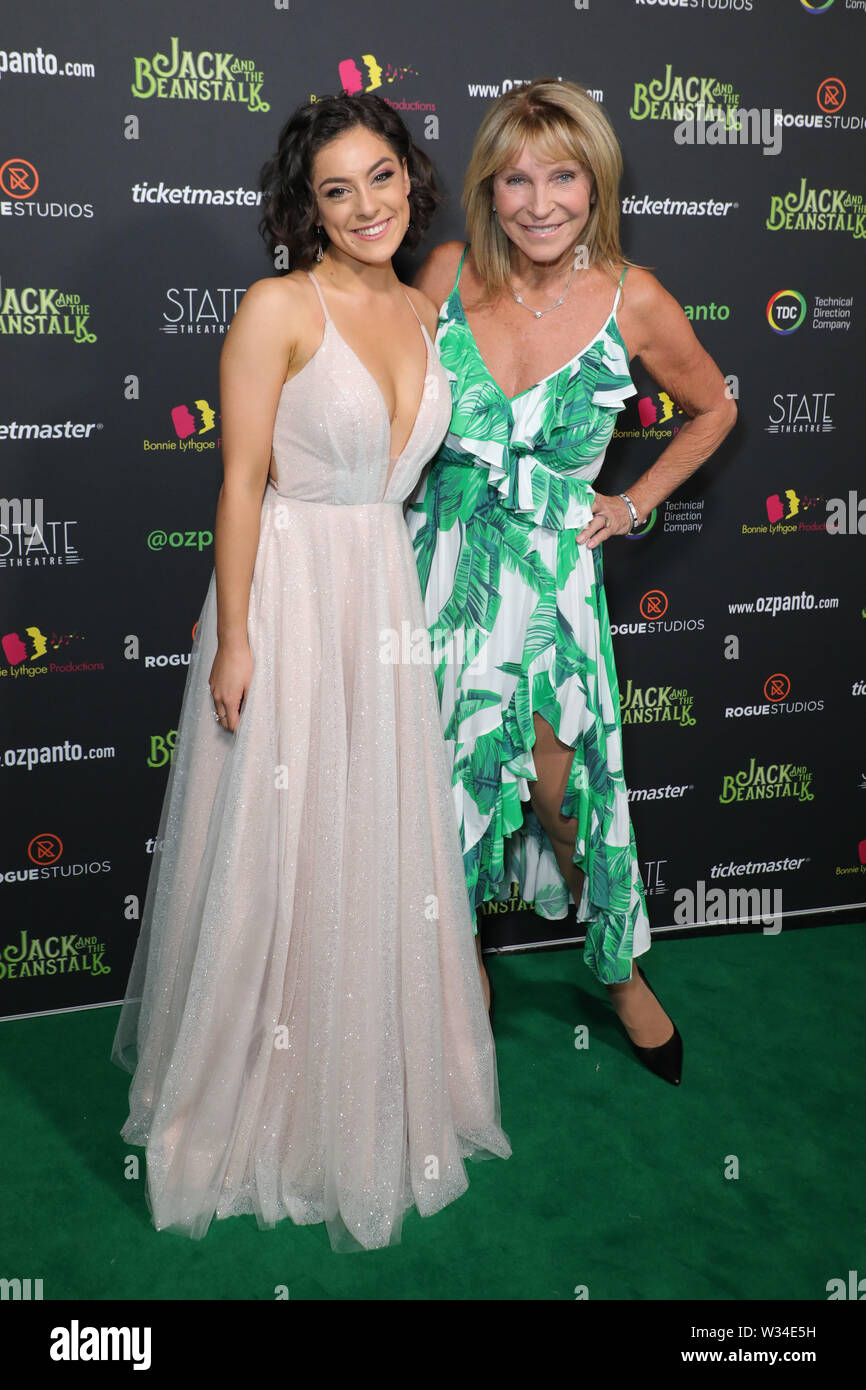 Sydney, Australia. 12th July 2019. Jack and the Beanstalk Giant 3D musical spectacular red carpet at the State Theatre. Pictured: Anastasia Feneri and Bonnie Lythgoe. Credit: Richard Milnes/Alamy Live News Stock Photo