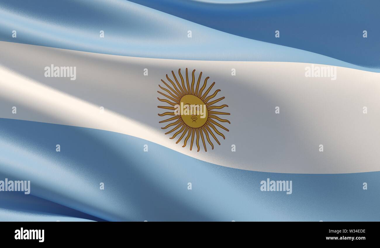 Waved highly detailed close-up flag of Argentina. 3D illustration. - Stock Image