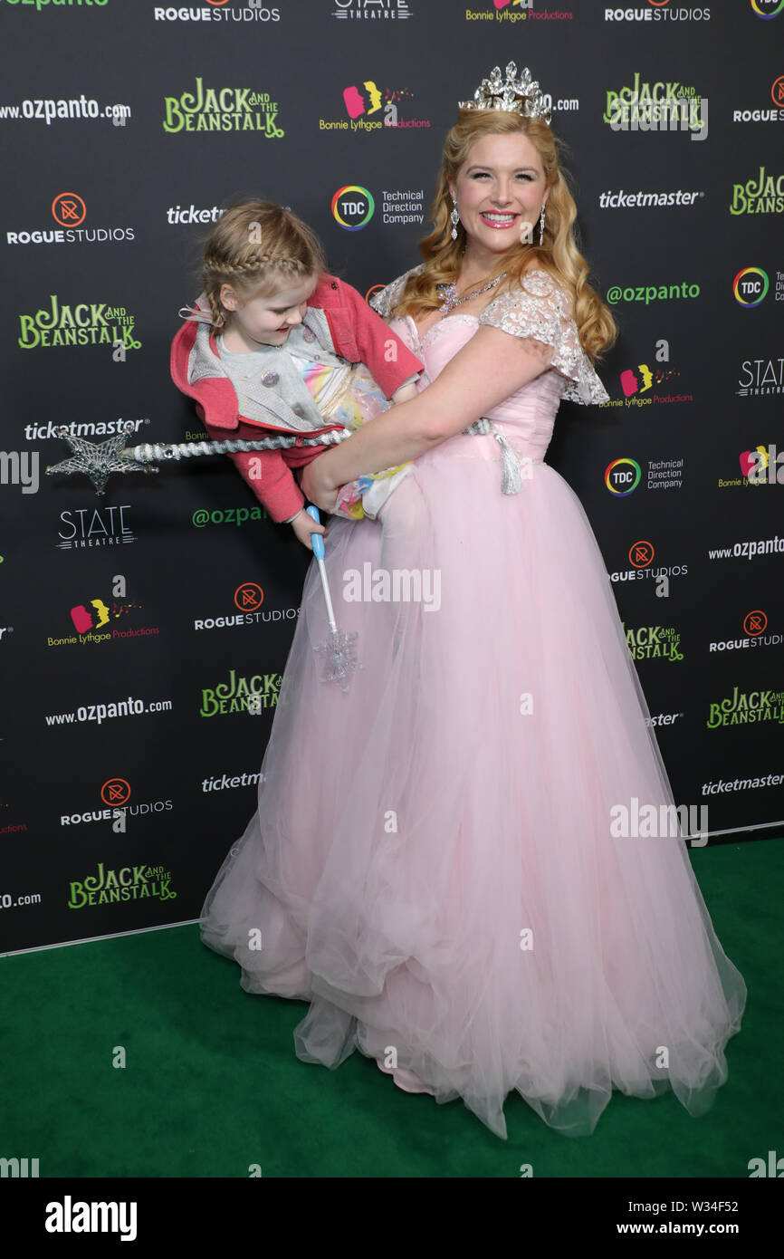 Sydney, Australia. 12th July 2019. Jack and the Beanstalk Giant 3D musical spectacular red carpet at the State Theatre. Pictured: Lucy Durack. Credit: Richard Milnes/Alamy Live News Stock Photo