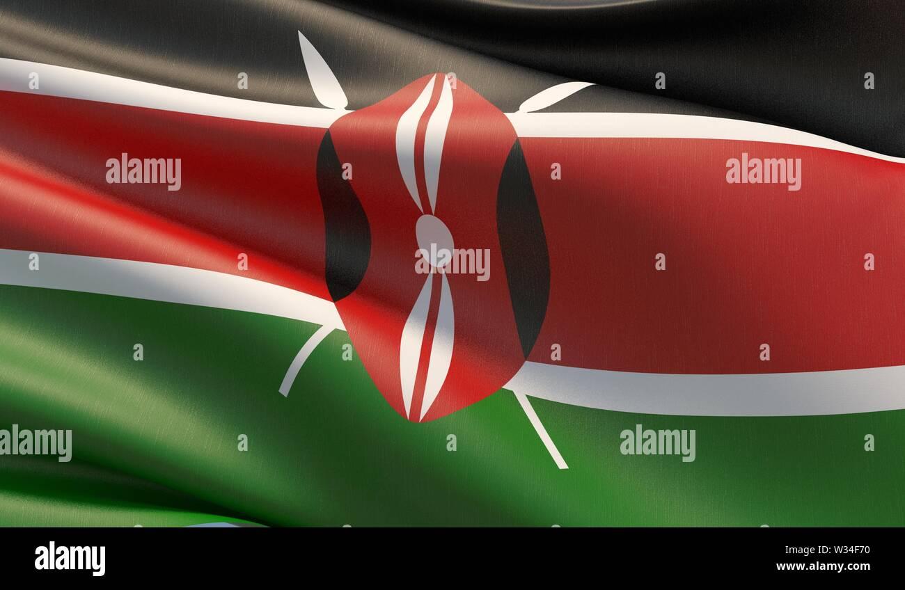 High resolution close-up flag of Kenya. 3D illustration. Stock Photo