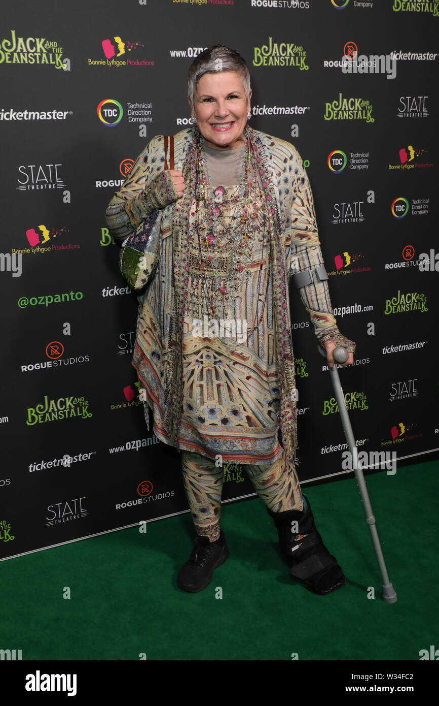 Sydney, Australia. 12th July 2019. Jack and the Beanstalk Giant 3D musical spectacular red carpet at the State Theatre. Pictured: Susan Elelman. Credit: Richard Milnes/Alamy Live News Stock Photo