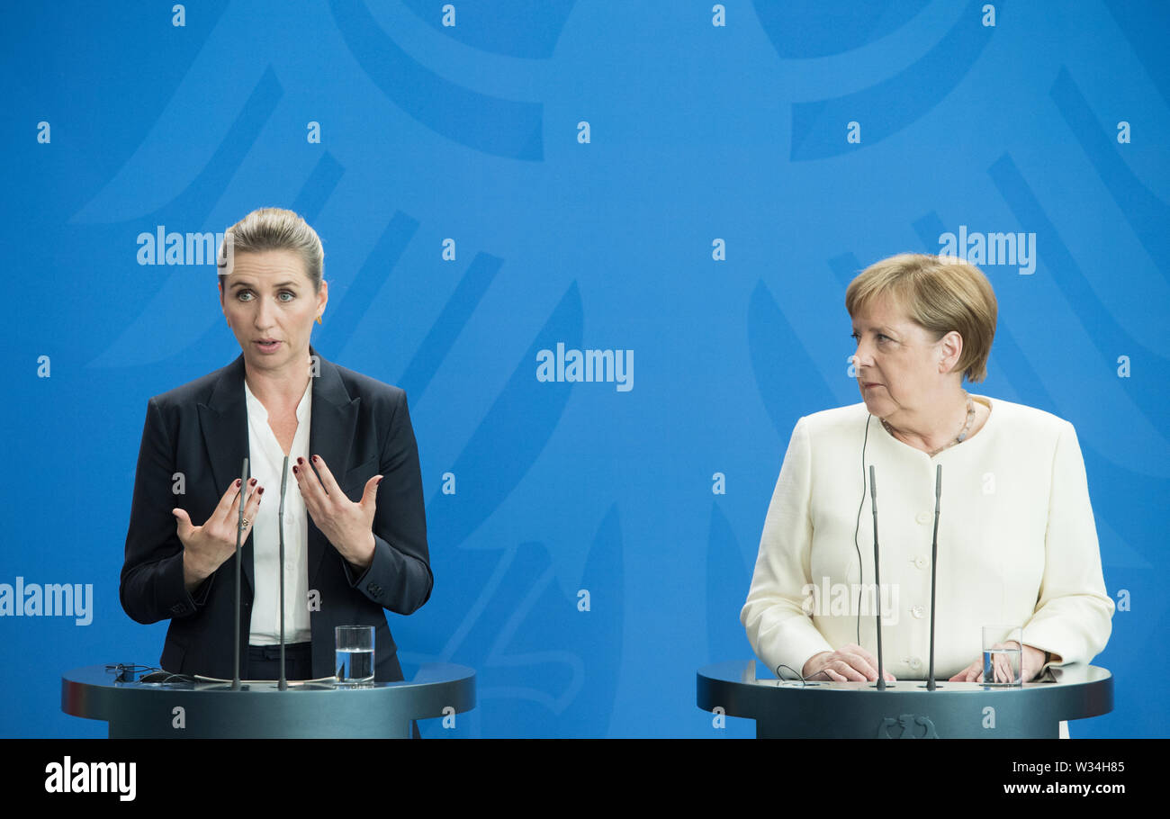 Minister President Mette FREDERIKSEN and Federal Chancellor Angela MERKEL Press briefing of the Prime Minister of the Kingdom of Denmark and the Federal Chancellor in the Federal Chancellery in Berlin, Germany on 11.07.2019. | Usage worldwide Stock Photo