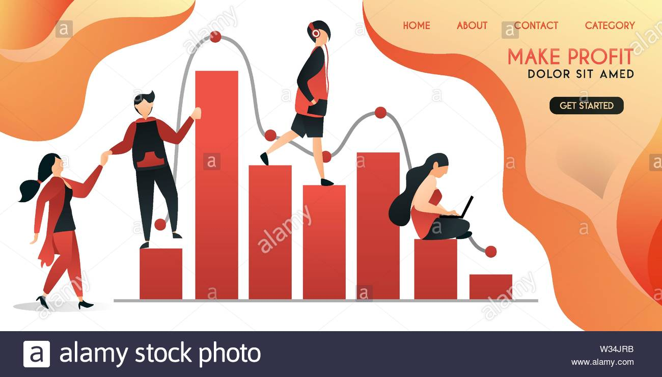 group of people who help each other in work to get a big profit ,vector illustration concept, can be use for presentation, web, banner ui ux, landing - Stock Vector