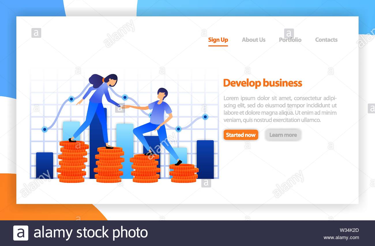 business solution innovative ideas, investment. Financial strategy diagram graph chart.  Teamwork in achieving profits, career growth. flat vector ill - Stock Vector