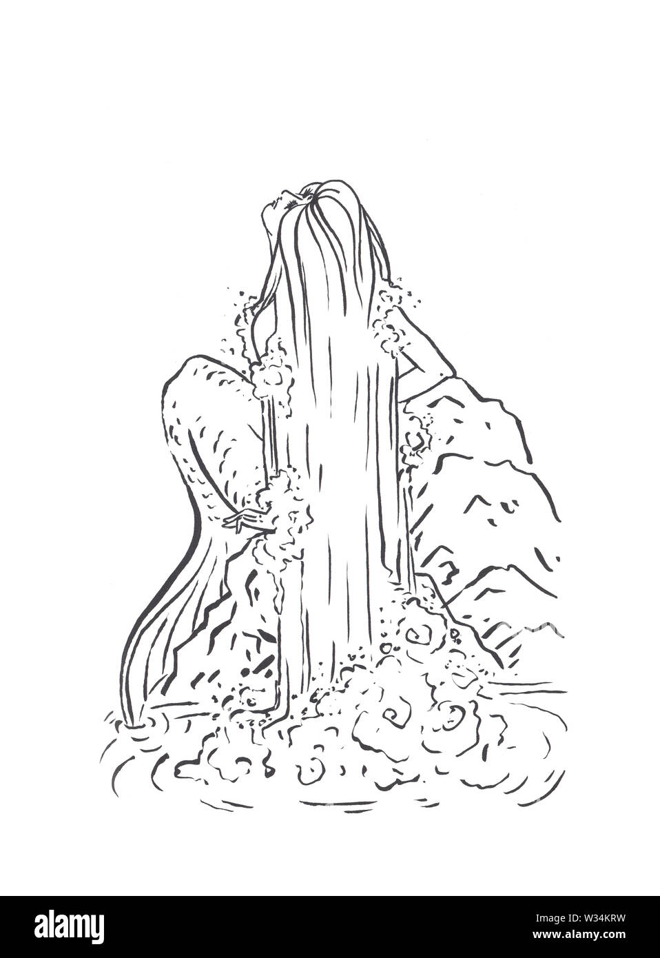 Mermaid Illustration Black Isolated On White Coloring Page Or Fairy