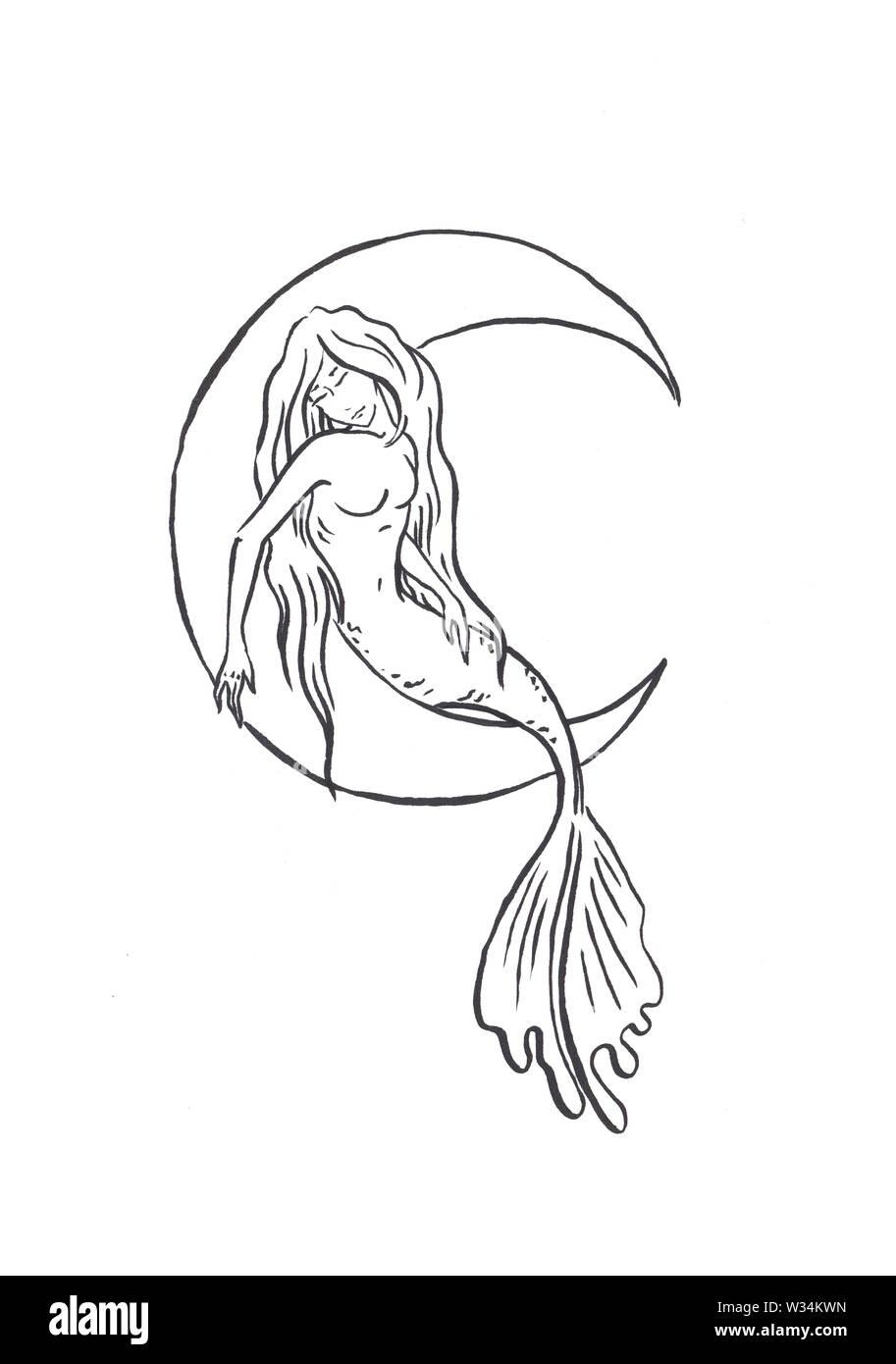 Fairy Mermaid Coloring Page » Printable Coloring Page » Artus Art | 1390x913