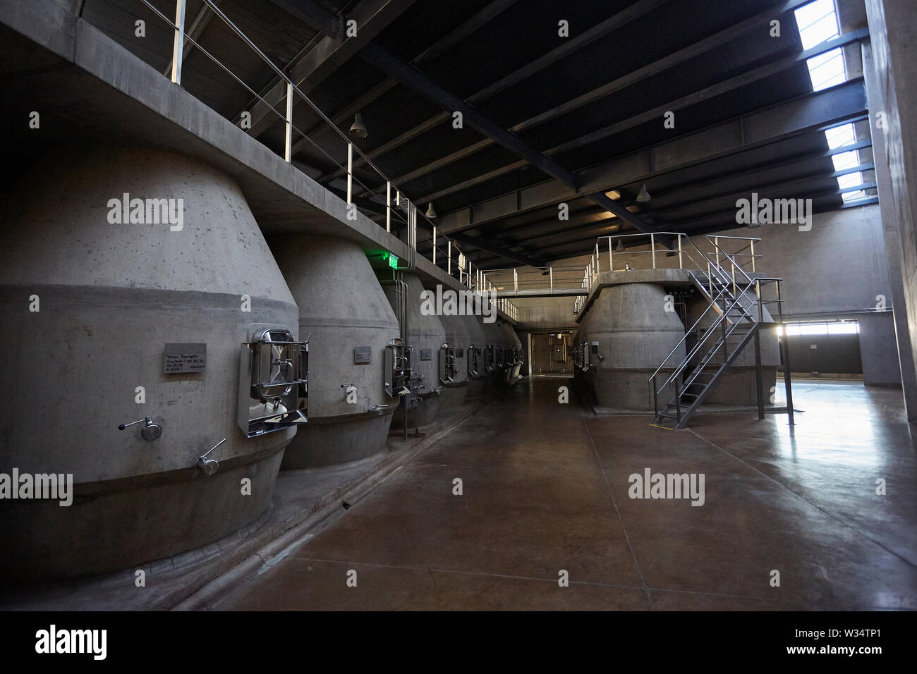 11 July 2019, Argentina, San Carlos: View of the wine cellar of Piedra Infinita. The Argentinian winery Piedra Infinita of the brand Zuccardi, was awarded by the World's Best Vineyards Academy as the best winery and winery in the world. This award recognizes the best 50 wineries in the world, based on the experience offered to the visitor. Photo: Marcelo Aguilar/dpa - Stock Image