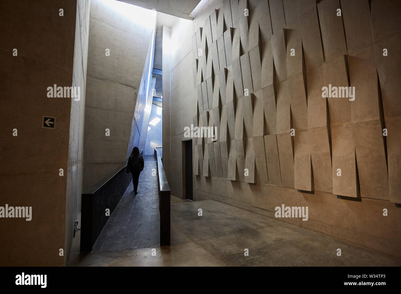 11 July 2019, Argentina, San Carlos: View on a corridor in the building of Piedra Infinita. The Argentinian winery Piedra Infinita of the brand Zuccardi, was awarded by the World's Best Vineyards Academy as the best winery and winery in the world. This award recognizes the best 50 wineries in the world, based on the experience offered to the visitor. Photo: Marcelo Aguilar/dpa - Stock Image