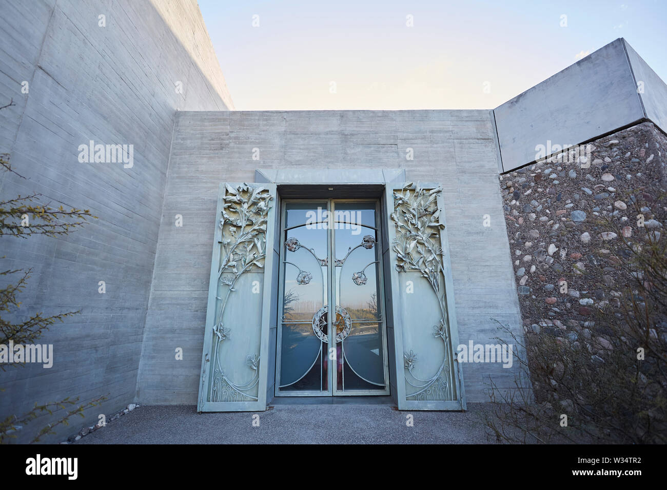 11 July 2019, Argentina, San Carlos: View on the entrance of the building of Piedra Infinita. The Argentinian winery Piedra Infinita of the brand Zuccardi, was awarded by the World's Best Vineyards Academy as the best winery and winery in the world. This award recognizes the best 50 wineries in the world, based on the experience offered to the visitor. Photo: Marcelo Aguilar/dpa - Stock Image