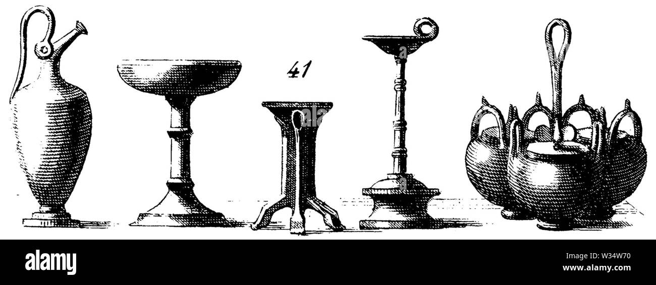 household utensils, ,  (cultural history book, 1875) - Stock Image