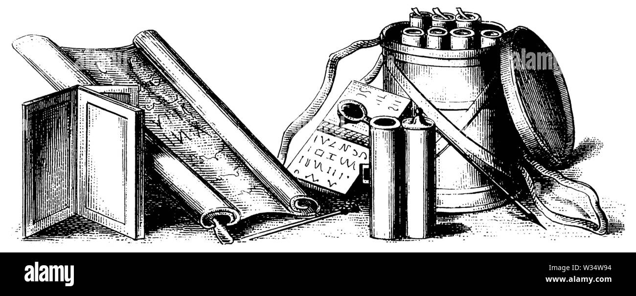 Roman writing utensils and book rolls, ,  (cultural history book, 1875) - Stock Image