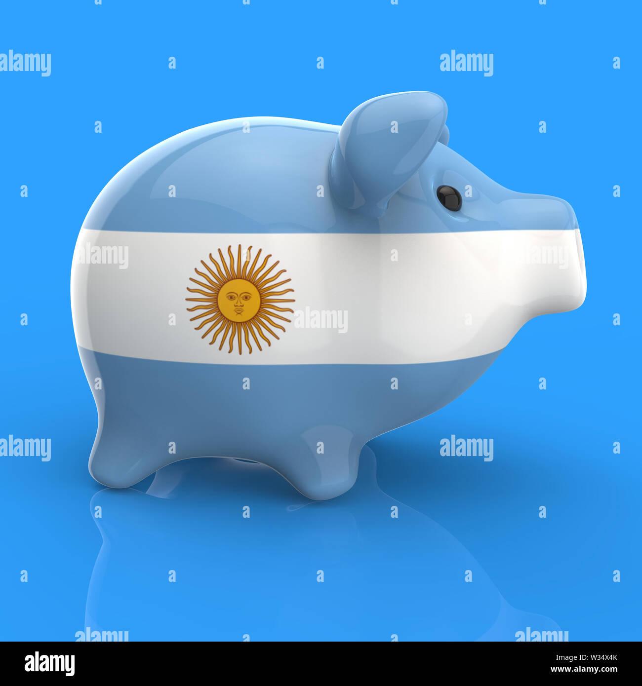 Piggy bank - 3D Illustration - Stock Image