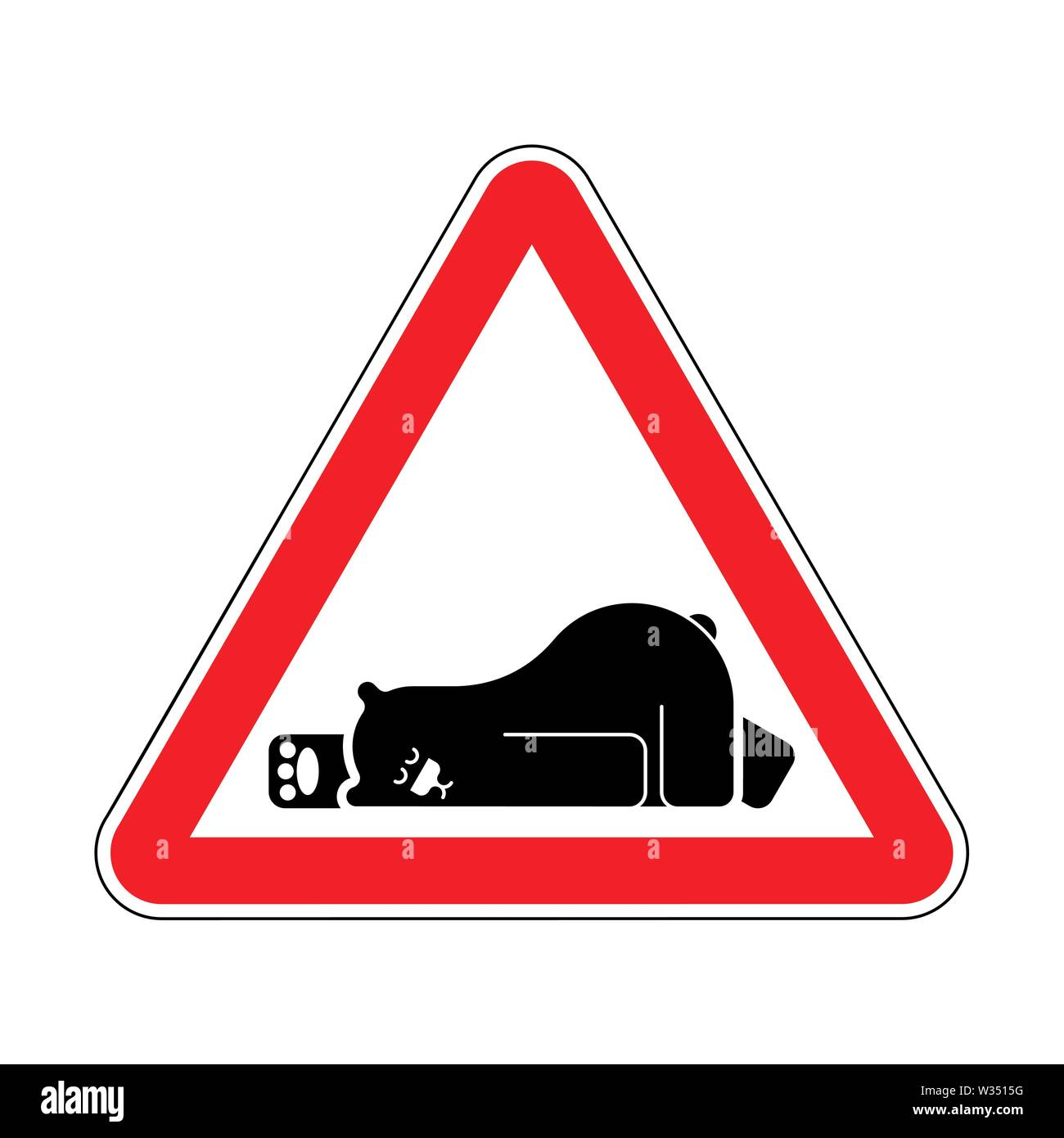 Attention Sleeping bear. Caution Grizzly is sleeping. Red triangle road sign - Stock Image
