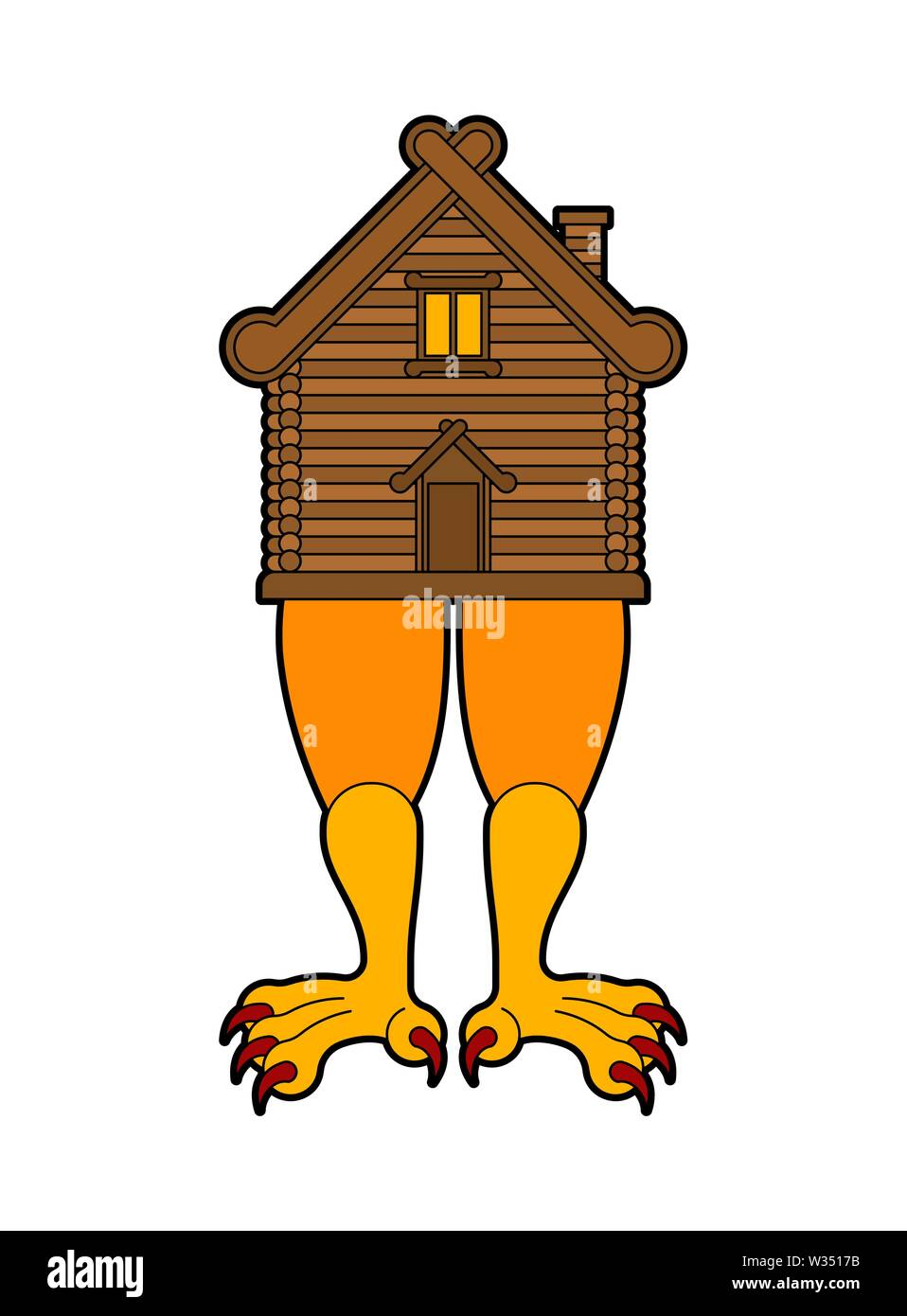 Hut on chicken legs. Russian traditional wood home. Baba Yaga house - Stock Image