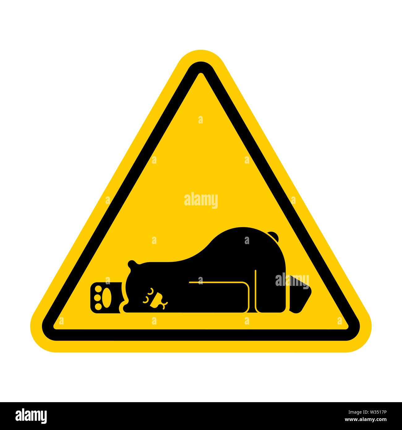 Attention Sleeping bear. Caution Grizzly is sleeping. Yellow triangle road sign - Stock Image