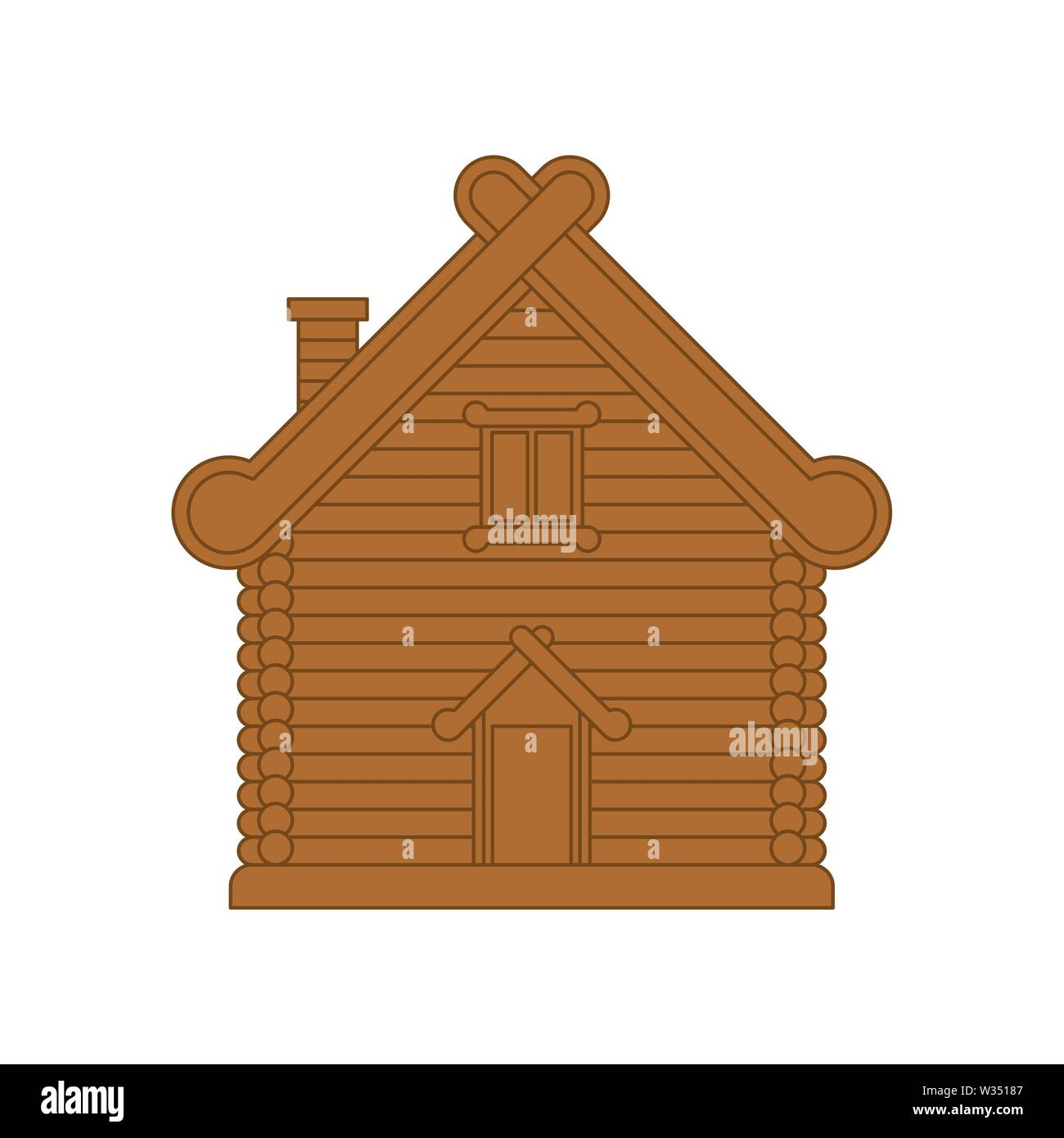 Russian hut. Wooden house in Russia. National Folk home. Vector illustration - Stock Image