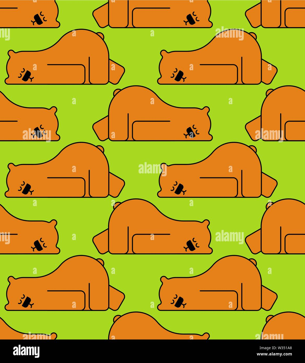 Sleeping bear pattern seamless. Grizzly is sleeping background. vector texture - Stock Image