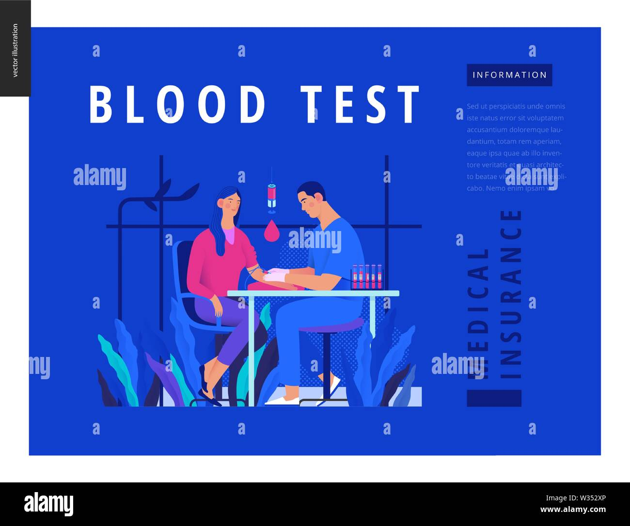 Medical tests Blue template - blood test - modern flat vector concept digital illustration of blood test procedure - patient and doctor with syringe a Stock Vector