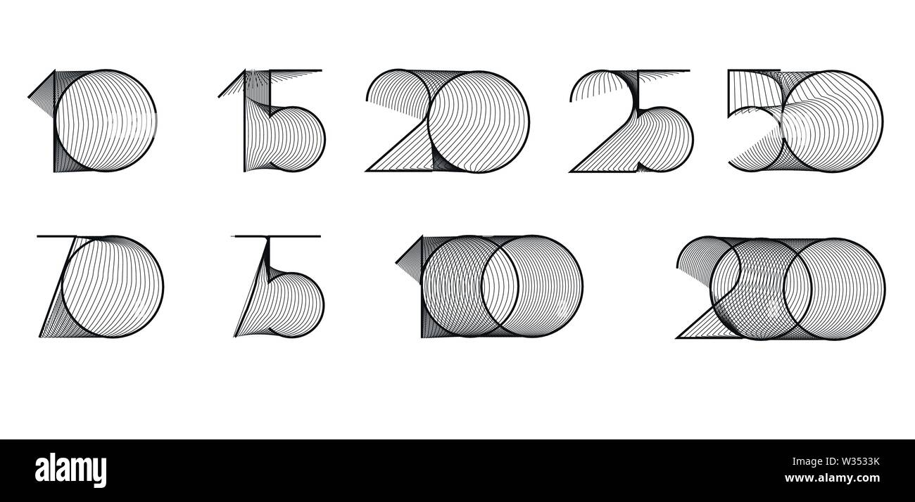10, 15, 20, 25, 50, 70, 75, 100, 200 years vector background. - Stock Image