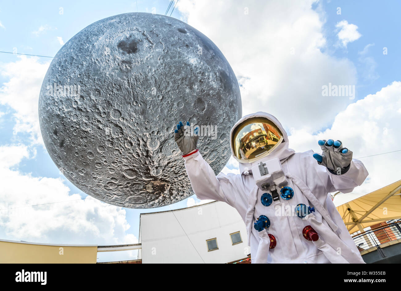 Birmingham, UK. 12th July 2019. Summer in Southside blasts off into space for this years free family festival. To celebrate 50 years since the first moon landing, Birmingham Hippodrome and surrounding areas will be transformed into a lunar landscape for the whole weekend. Birmingham HippodromeÕs free two-day family festival Summer in Southside will take place on Saturday 13 and Sunday 14 July 2019. This year the festival will explore the spectacle and wonder of Outer Space. Credit: Simon Hadley/Alamy Live News - Stock Image