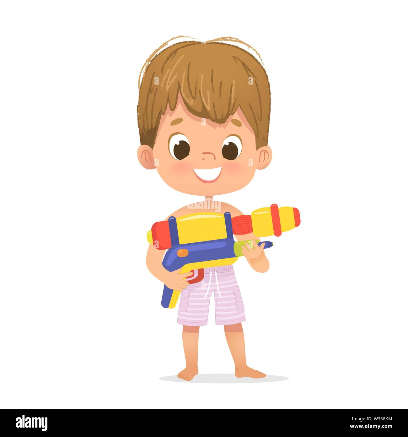 Smiling Cute Brown Hair Baby Boy With A Toy Water Gun Posing Pool