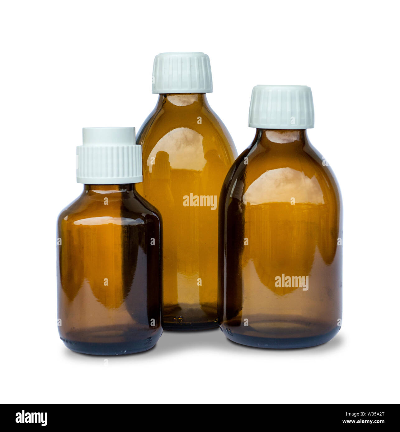 Bottles of Medicine isolated on white Stock Photo