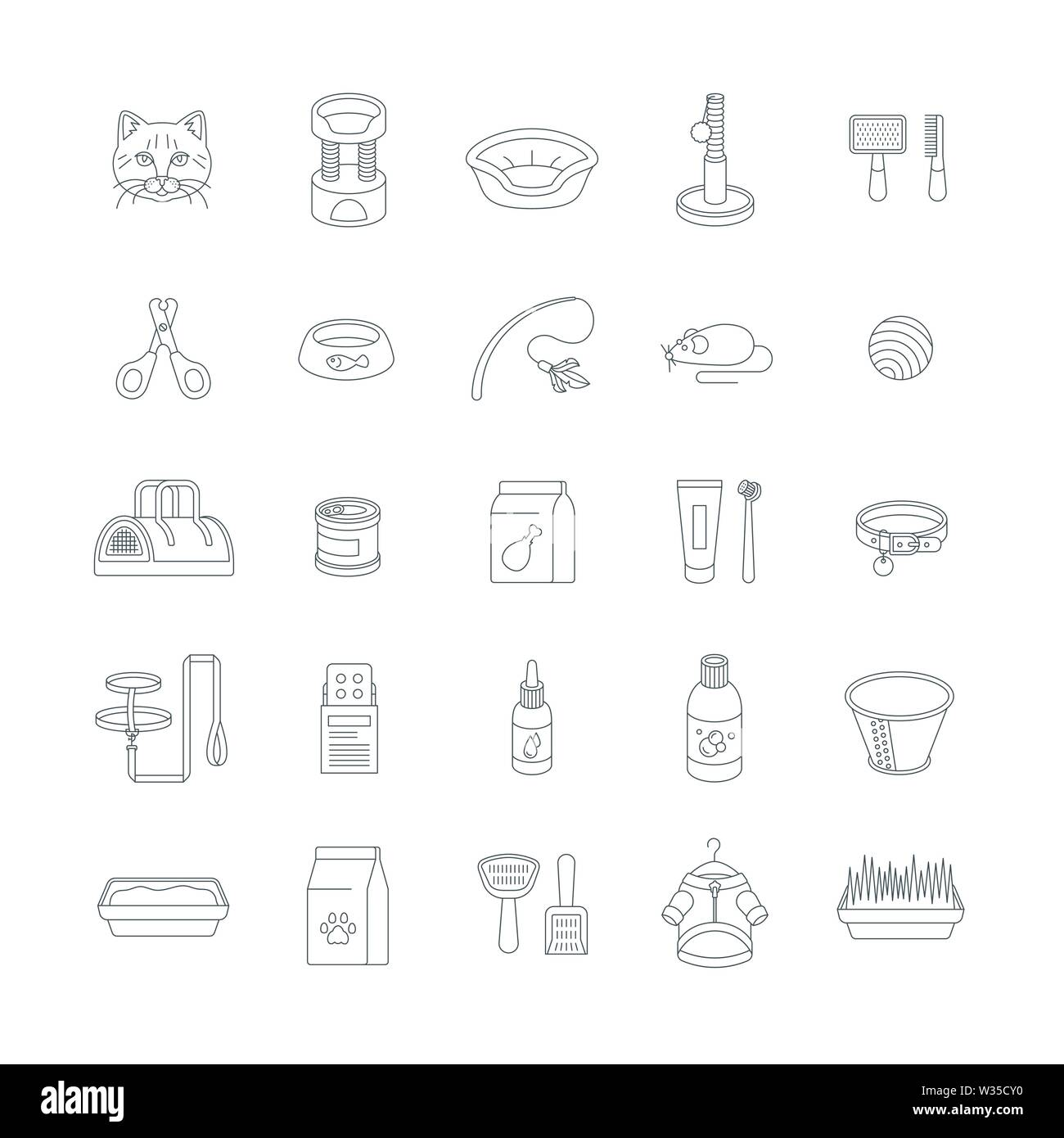 Cat accessories vector flat thin line icons. Pet shop equipment outline illustration. Domestic animal care supplies. Items for feeding, grooming, play - Stock Image