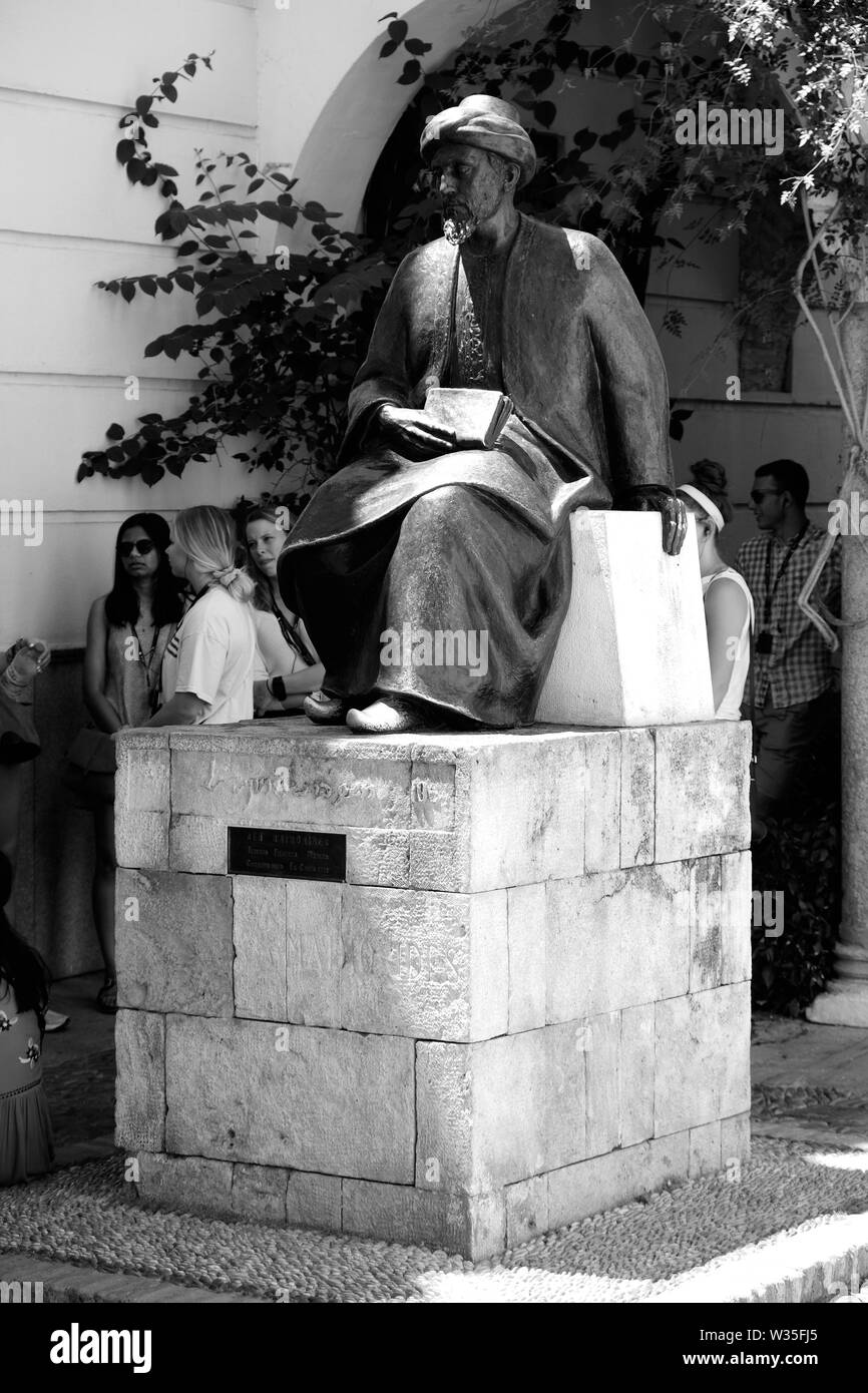 Detail of statue in honor of Moses ben Maimon, or Maimonides, a medieval Sephardic Jewish scholar, in Córdoba, Spain. - Stock Image