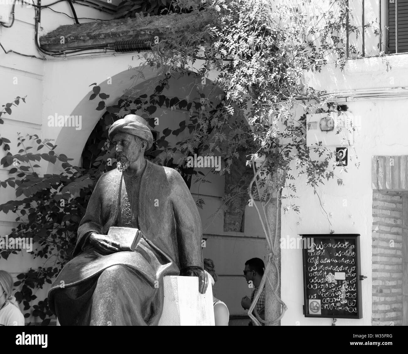 Detail of statue in honor of Moses ben Maimon, or Maimonides, a medieval Sephardic Jewish scholar, in Córdoba, Spain. Stock Photo