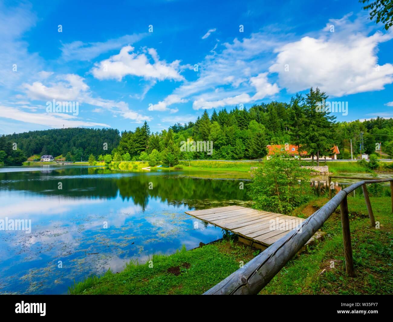 Green forest nature Mrzla vodica in Croatia Stock Photo