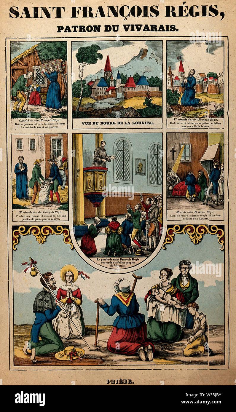 Saint François Régis. Coloured lithograph - Stock Image