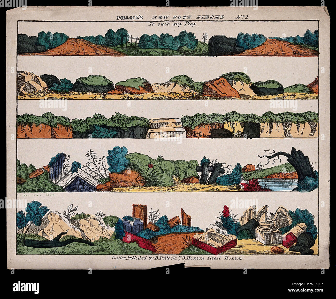 Scenes to be used in a children's theatre production. Coloured lithograph. - Stock Image