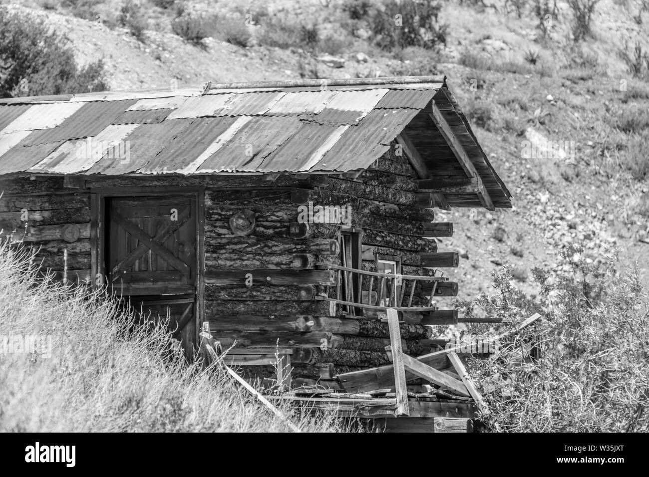 Jerome Ghost Town Log Cabin - Stock Image