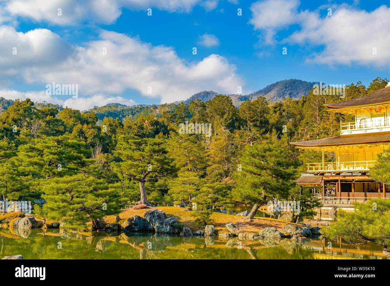 KYOTO, JAPAN, JANUARY - 2019 - Exterior view of famous kinkakuji zen temple at Kyoto city, japan Stock Photo
