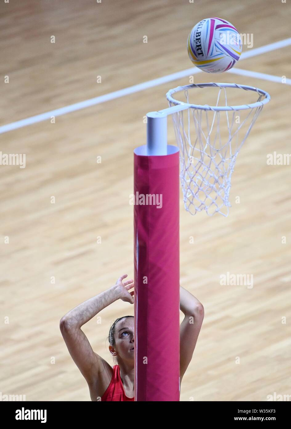 Liverpool. United Kingdom. 12 July 2019. Joanne Harten (England) scores during the Preliminary game between England and Uganda at the Netball World Cup. M and S arena, Liverpool. Merseyside. UK. Credit Garry Bowdenh/SIP photo agency/Alamy live news. - Stock Image