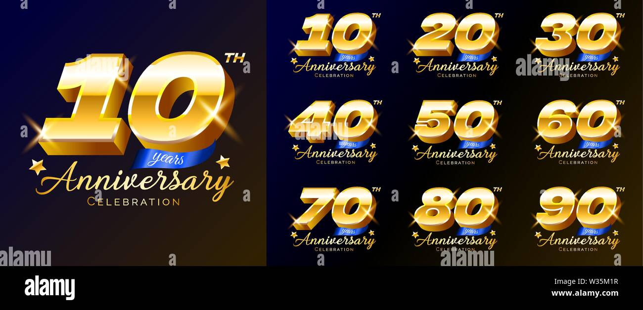 Set of gold anniversary celebration numbers, logo, emblem, design template for poster, banner, vector illustration isolated. Stock Vector
