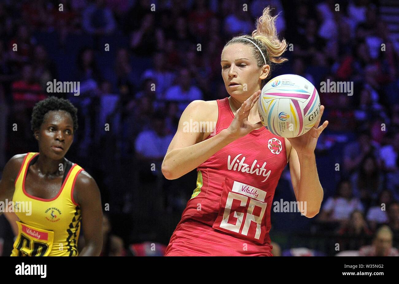 Liverpool. United Kingdom. 12 July 2019. Joanne Harten (England) during the Preliminary game between England and Uganda at the Netball World Cup. M and S arena, Liverpool. Merseyside. UK. Credit Garry Bowdenh/SIP photo agency/Alamy live news. - Stock Image
