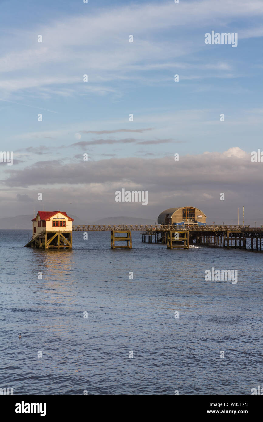 Old and new lifeboat station, The Mumbles, Swansea, Wales, afternoon light, portrait - Stock Image