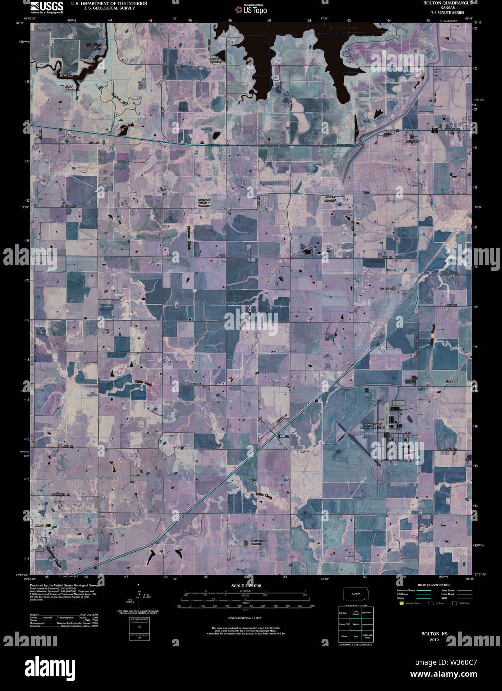 USGS TOPO Map Kansas KS Bolton 20100216 TM Inverted Restoration - Stock Image