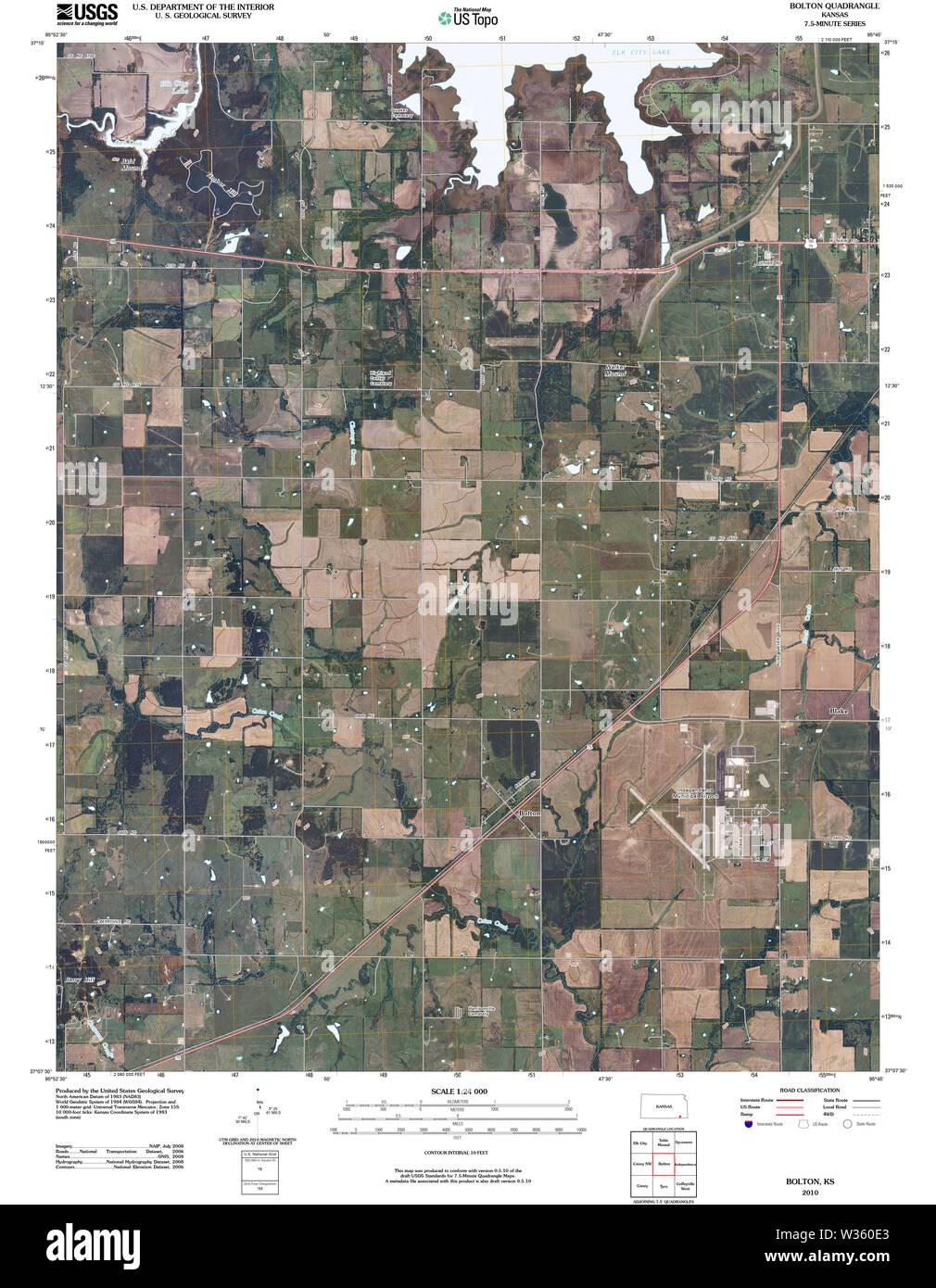 USGS TOPO Map Kansas KS Bolton 20100216 TM Restoration - Stock Image