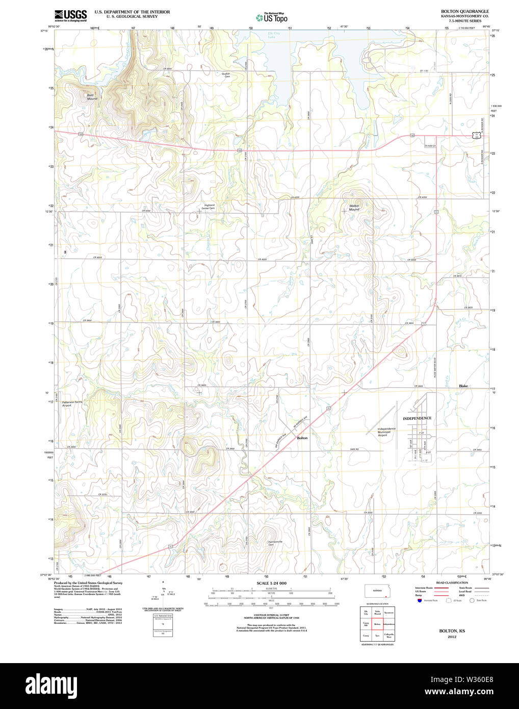 USGS TOPO Map Kansas KS Bolton 20120906 TM Restoration - Stock Image