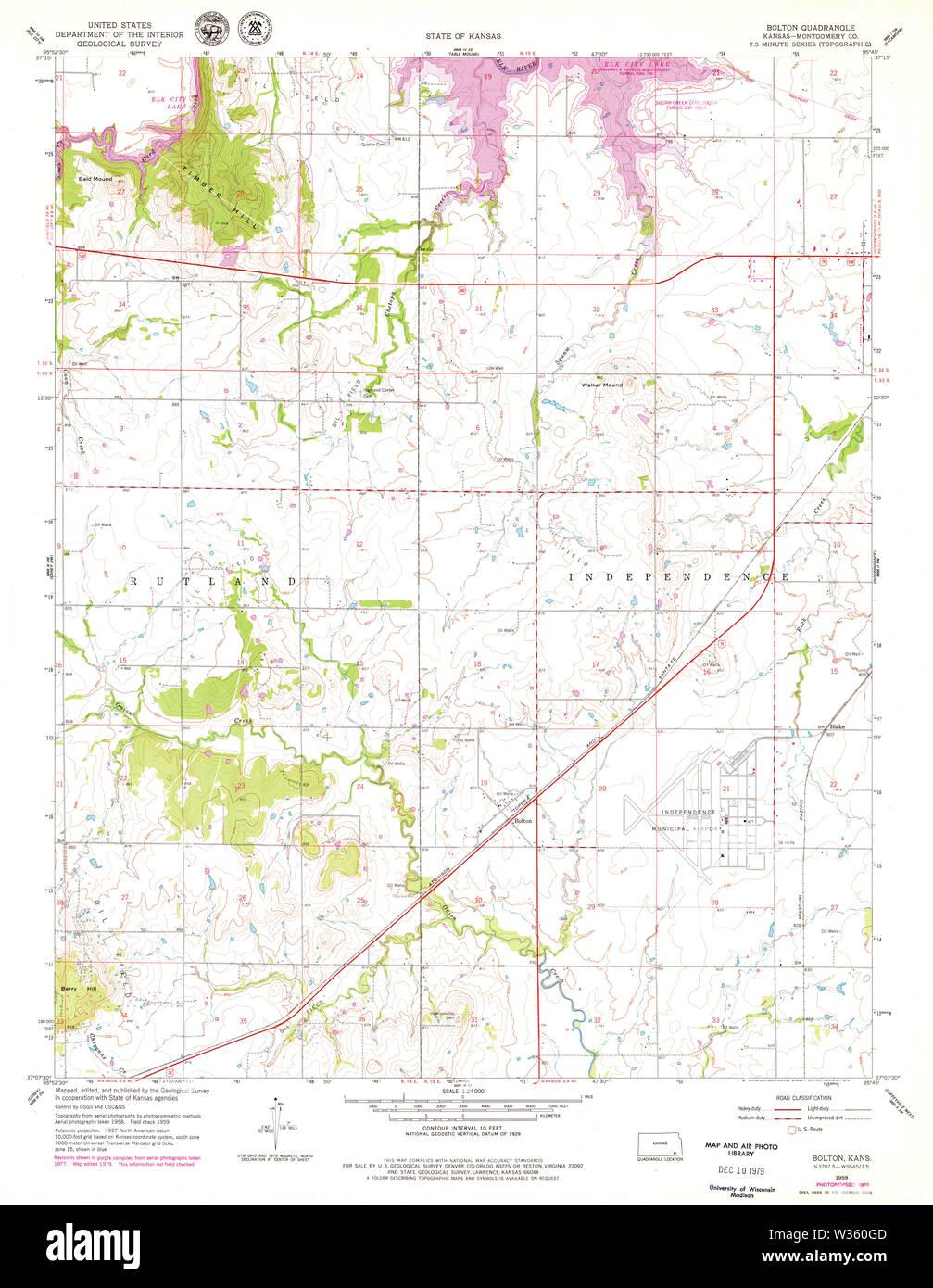 USGS TOPO Map Kansas KS Bolton 510939 1959 24000 Restoration - Stock Image