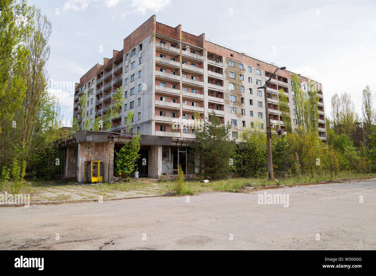 Residential area of abandoned Pripyat city in Chernobyl Exclusion Zone, Ukraine - Stock Image