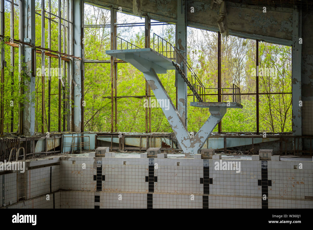 Former swimming pool in Pripyat, the ghost town in the Chernobyl Exclusion Zone - Stock Image