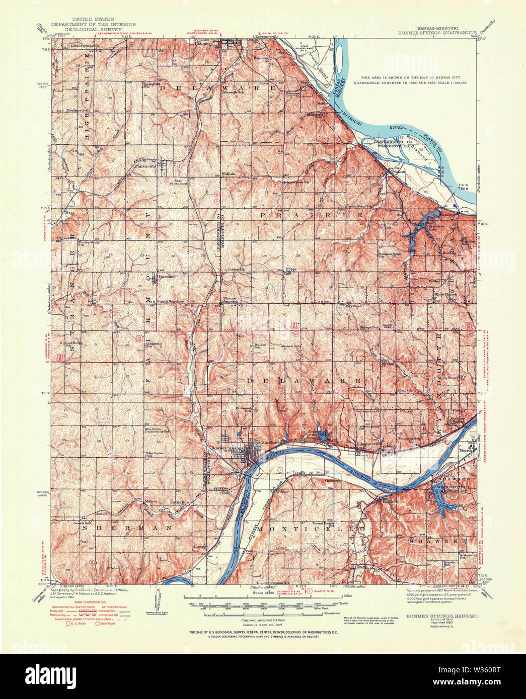 USGS TOPO Map Kansas KS Bonner Springs 801690 1940 62500 Restoration - Stock Image