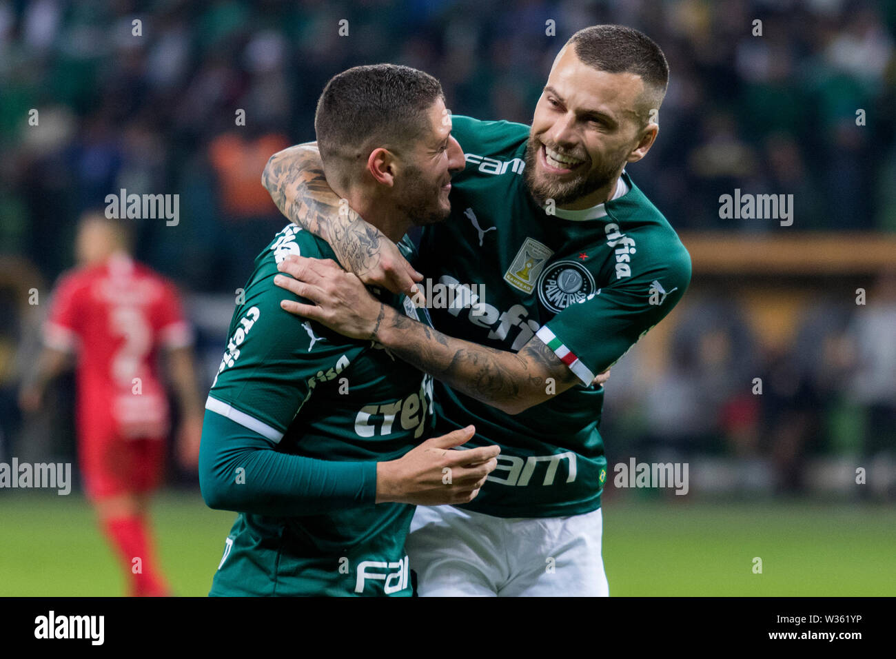 Zé Rafael, a Palmeiras player, celebrates his goal during a match between Palmeiras and Internacional, validated by the quarterfinals of the Continent Stock Photo