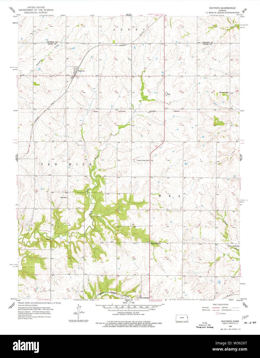 USGS TOPO Map Kansas KS Bucyrus 801693 1956 24000