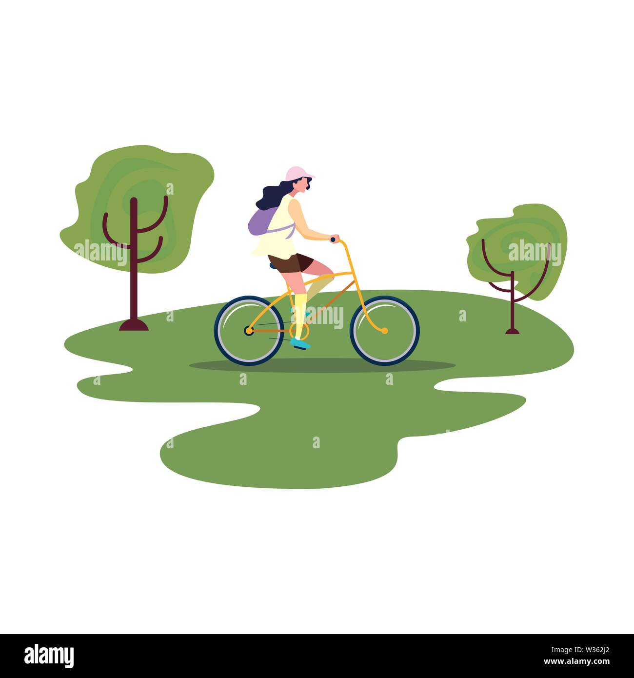 women riding bicycle activity in the park vector illustration - Stock Image