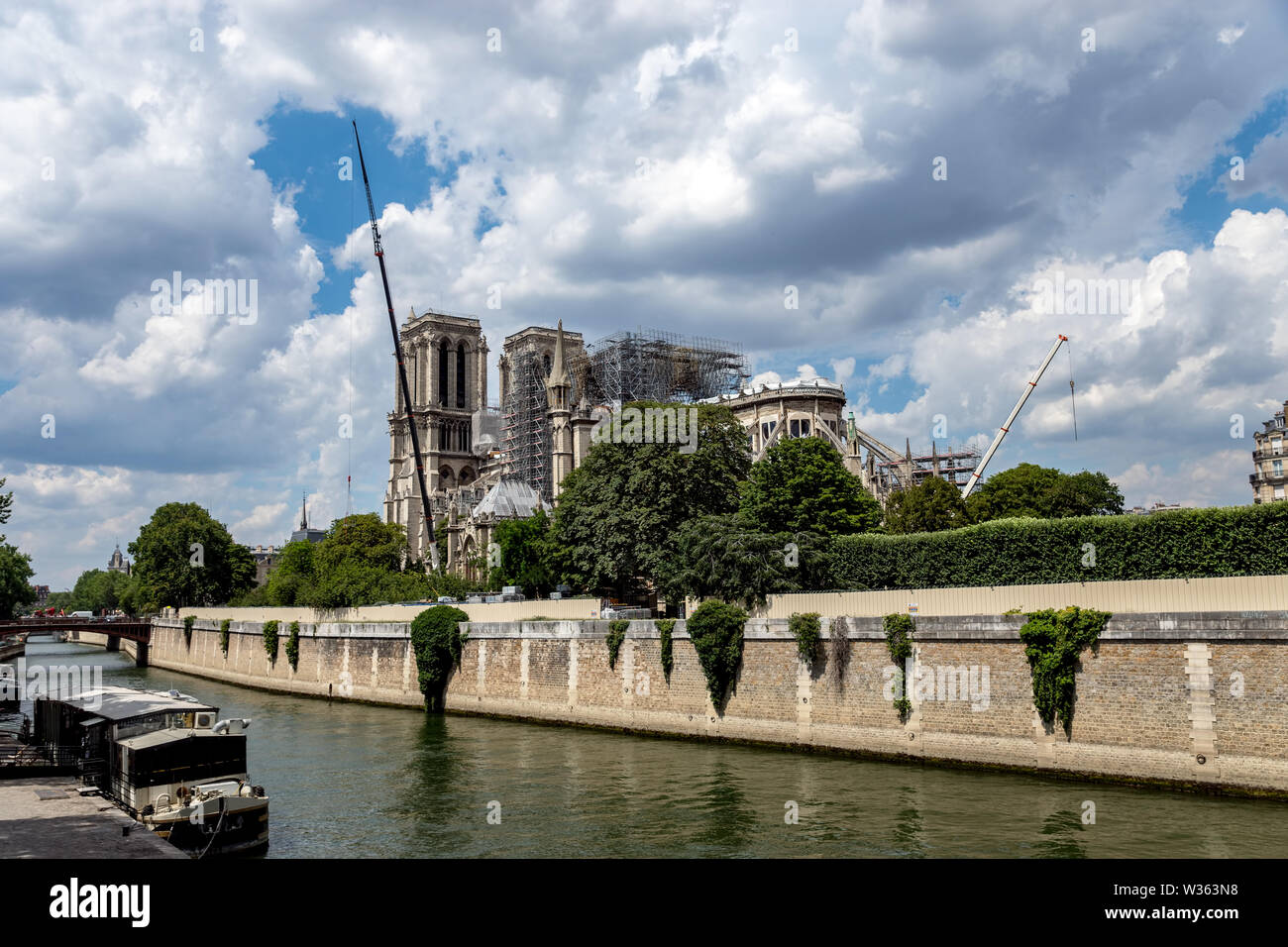 Notre Dame de Paris: Reinforcement work in July 2019 after the fire - Stock Image
